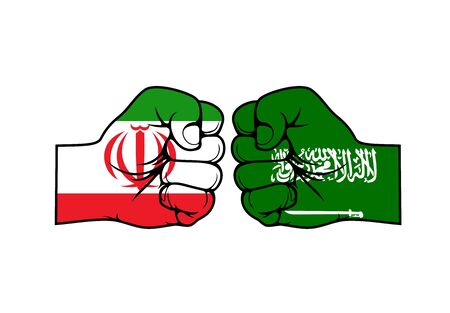 Iranian and Saudi Arabian two fists against each other, vector design. Islamic Republic of Iran vs Kingdom of Saudi Arabia. Middle East proxy conflict or cold war