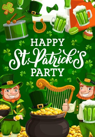 Happy St. Patricks day smiling leprechauns in green suits. Vector bearded gnomes, wealthy dwarfs drinking beer and celebrating Irish holiday. Drum and harp, flag of Ireland, lucky horseshoe
