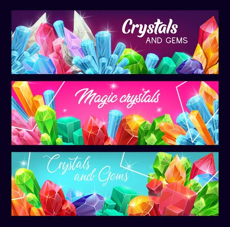 Crystals and gems, precious gemstones and jewels with sparkling shine. Vector banners. Rhinestone crystals and jewelry mineral rocks of ruby, sapphire and emeralds, amethyst, diamond and quartz