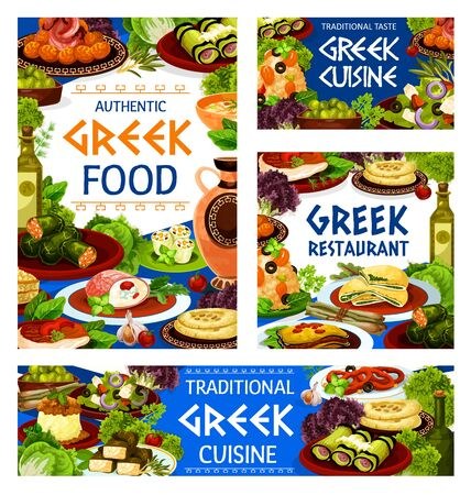 Greek cuisine menu vector dishes with seafood risotto, feta vegetable salad and meat moussaka with olives, bread and wine. Squid rings, meatball keftedes and spinach pie, dolma, eggplant, cheese rolls
