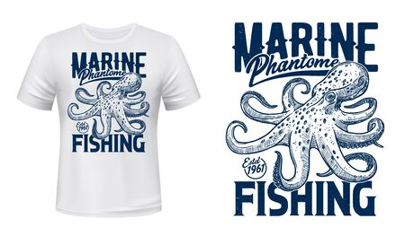 Ocean octopus t-shirt print, vector mockup. Marine phantom underwater monster, seafood fishing big catch. Marine fishing club emblem, sketch style