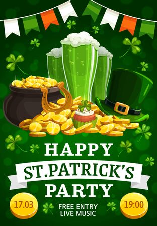 St. Patricks day vector leprechaun hat, beer glasses and pot of gold festive treasures. Golden horseshoe, coins and cupcake, garland in colors of Irish flag. Ireland holiday
