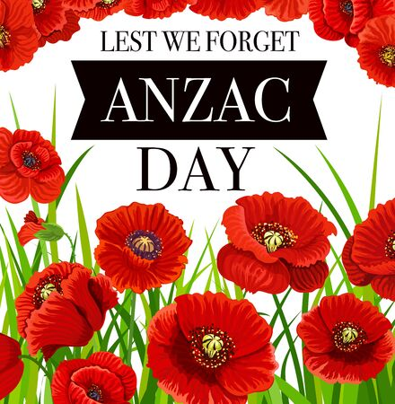 Anzac Day poppy flowers, national remembrance day of Australia and New Zealand, vector poster. Anzac day poppy commemoration symbol of army soldiers and veterans of war 向量圖像