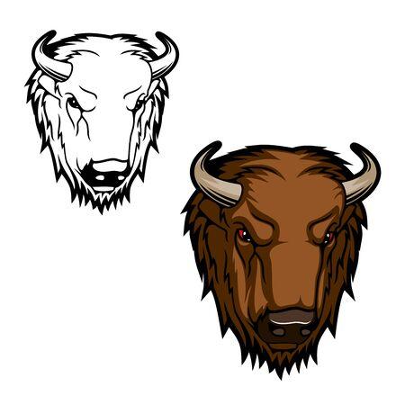 Testa di animale bisonte, testa di toro marrone o bufalo con le corna. Mammifero selvaggio vettoriale con muso aggressivo. Simbolo del design dello zoo, della fauna selvatica e del club sportivo di caccia Vettoriali