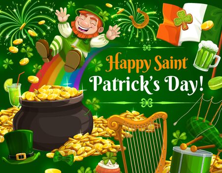 Patricks Day leprechaun sliding down on rainbow into pot of gold, vector. Irish holiday shamrock, green beer and clover leaves, golden coins, horseshoe, flag of Ireland and treasure cauldron