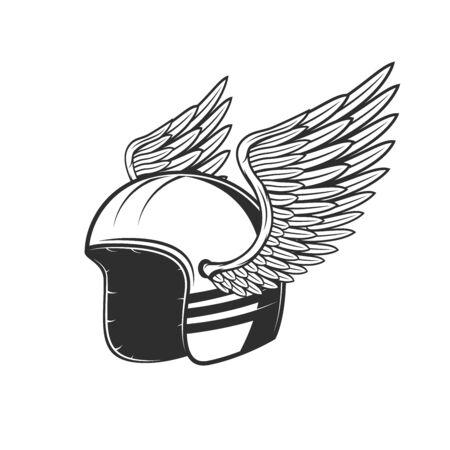 Biker helmet with wings. Motor race team symbol, rally sport team emblem and custom chopper bike riders tournament sign
