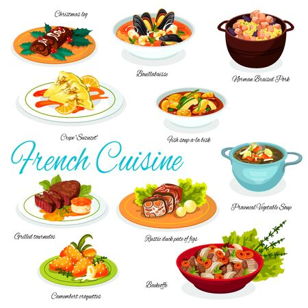 French beef, ham and vegetable stews, duck pate with figs, seafood, fish and veggies soups, cheese croquettes and pancake suzette, grilled steak and normandy pork vector. Restaurant menu