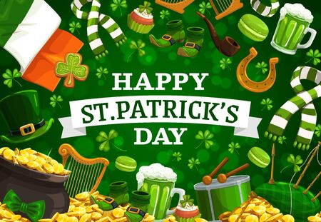 Patricks Day vector frame of green shamrock, leprechaun hat and pot of gold, clover leaves, golden coins and Irish flag, lucky horseshoe, beer mug and drum. Religion holiday of Ireland design