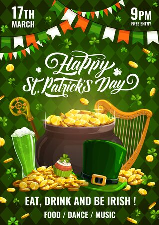 Patricks day invitation on celebration of Irish spring holiday 17 march. Vector leprechauns stick and hat, golden coins and garlands, pot of gold, green beer. Food and drinks, fireworks and harp