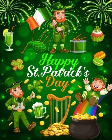 Patricks Day cartoon leprechauns with shamrock, Irish flag and gold pot on rainbow vector greeting card. Golden coins, green ale beer and clover leaves, drum, bagpipe and harp, sparkles and fireworks