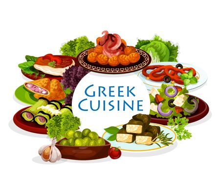 Greek cuisine meal. Vector greek salad with feta, vegetable and olives, meat pie, eggplant and cheese rolls, meatballs keftedes and squid rings in wine sauce. Mediterranean cuisine dishes, spice herbs