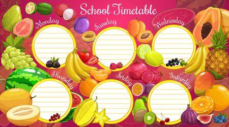 Calendrier scolaire et planificateur hebdomadaire de leçons, modèle vectoriel avec fruits tropicaux et baies. Calendrier scolaire avec papaye, ananas et kiwi, cassis et myrtille, figues et raisin