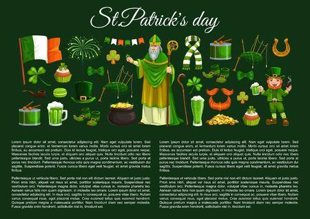 Saint Patrick with Irish religious holiday symbols. Vector leprechaun, clover and hat, pot of gold, shamrock leaf and green beer, lucky horseshoe, golden coins, flag of Ireland and celtic man beard Illusztráció