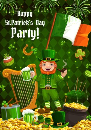 Patricks day, Irish holiday poster with shamrock clover leaf and leprechaun gold coins pot. Happy Saint Patrick day, leprechaun with green bee pint mug and Ireland flag