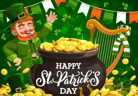 Leprechaun with pot of gold vector greeting card of Patricks Day Irish holiday design. Green leaves of shamrock or clover, golden coins and horseshoe, bunting in colors of Ireland flag, hat, shoes Illusztráció