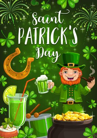 Irish Patrick day, traditional holiday party celebration. Vector Patricks Day lucky symbols, shamrock clover leaf, leprechaun drinking beer and smoking pipe with gold coins in cauldron Illusztráció