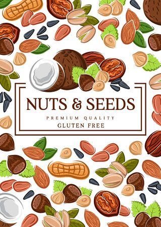Nuts and seeds, organic GMO and gluten free raw vegan food. Vector peanut, hazelnut and almond, coconut, wheat and rye, sunflower seeds and pistachio nuts, healthy superfood nutrition  イラスト・ベクター素材