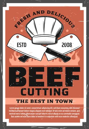 Beef cutting, butchery shop vintage retro poster. Vector barbecue picnic and beefsteak meat grocery store, chef cooking hat, kitchen hatchet knifes and BBQ grill fire