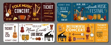 Live music concert event tickets templates. Vector classic orchestra, folk acoustic concert and jazz sound band festival tickets with African and Japanese music instruments piano, violin and drums