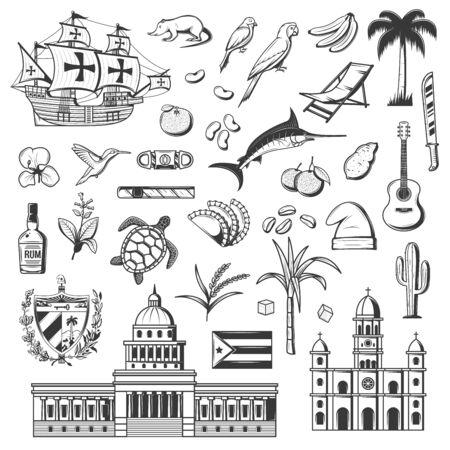 Cuba and Havana icons, travel and tourist famous landmark symbols. Vector Cuba flag, Havana parliament, cigar and historic frigate ship, sugar cane and rum, parrot and Caribbean guitar Stock Vector - 139309646