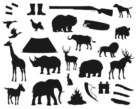Hunt icons, wild animals and birds, hunter ammo equipment silhouettes. Vector deer, elk and bear, African safari hunt lion and elephant, rhinoceros, giraffe and boar, ducks and hunter rifle guns  イラスト・ベクター素材