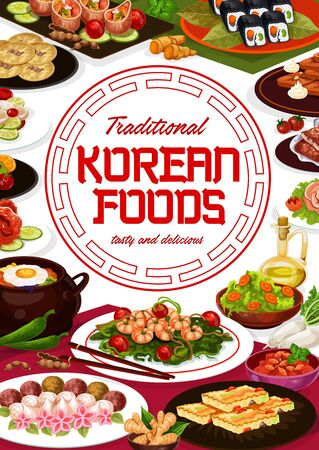 Korean restaurant menu, Korea authentic meals and traditional cuisine food. Vector Korean cafe menu, kimchi, ramen, udon and soba noodles, beef bulgogi soup and kibimpap rolls, seafood and meet