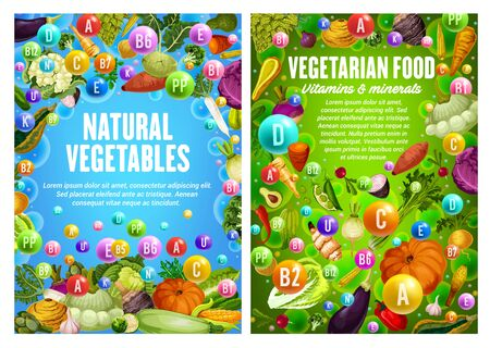 Vegetables, organic farm food veggies and GMO free vegetarian food vitamins. Vector carrot, tomato and corn, vegan pumpkin, cucumber, broccoli and zucchini squash, vegan asparagus and cauliflower 版權商用圖片 - 139309653