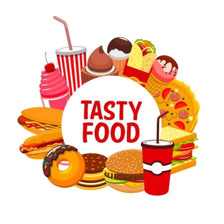 Restaurante de comida rápida y comida callejera y menú de snacks. Vector sándwiches de bistro de comida rápida, pizza y hamburguesa con queso, tacos mexicanos, nachos y burritos, perros calientes y helados, café y bebidas gaseosas