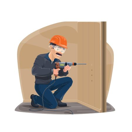 Carpentry repairman with home remodeling and repair woodwork tools. Vector carpenter man in safety hat with electric drill assemble furniture or repairing and constructing house
