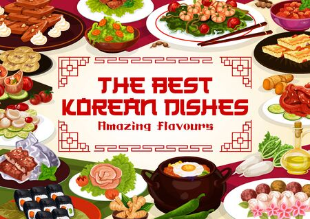 Korean cuisine dishes, restaurant menu and Korea authentic meals cooking recipe book cover. Vector Korean rice, ramen and udon noodles with kimchi salad, kimbap rolls, seafood and meet dishes