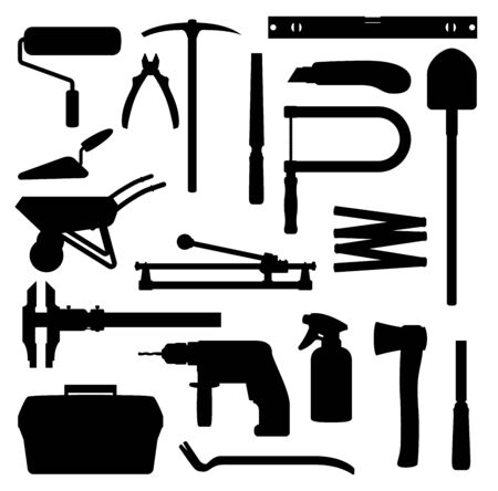 Work tools, home repair, renovation and remodeling handy works equipment silhouette icons. Vector woodwork carpentry and construction tools, hammer, drill, saw and screwdriver, spade and paint roll