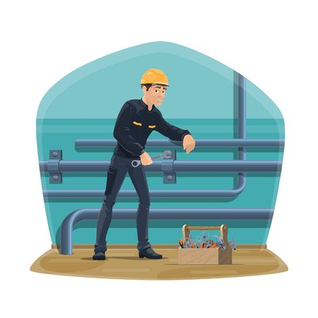 Plumber service, water pipeline plumbing, inspection and repair. Vector worker man in uniform with spanner wrench tool, repairing water sewage leakage, house gas or heating system pipes Ilustracja