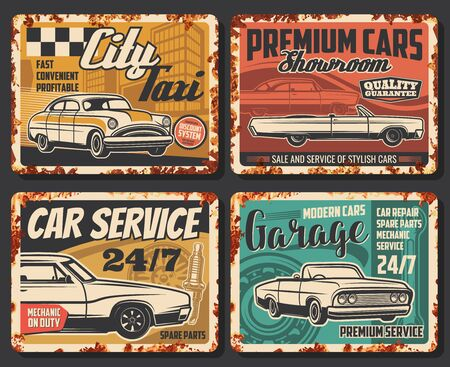 Car service retro posters, auto mechanic garage and vehicle maintenance station rusty signs. Vector automobile repair service plates, engine, city taxi and premium car showroom rust effect plates Stock Illustratie