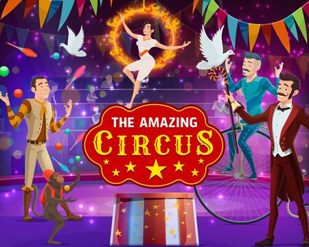 Vintage circus show, magic performance, animal tamers and acrobats on arena. Vector big top circus tent, juggler with pins and monkey juggling balls, magician illusionist and equlibrist on aerial hoop 일러스트