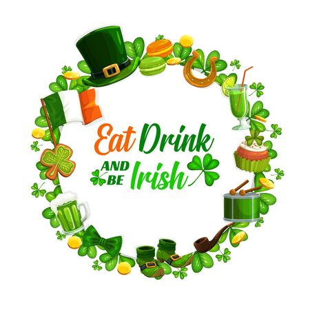 Eat and drink as Irish on St. Patricks day spring holiday. Vector frame of Ireland symbols, national flag, leprechauns hat, bow and boots isolated on white. Beer and pipe, green cookies and cocktail