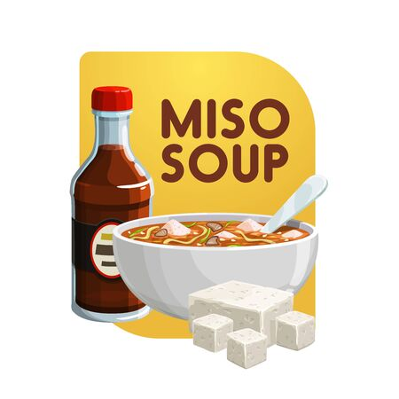 Miso soup, soy food products and healthy vegetarian eating. Vector Japanese cuisine miso soup in bowl with soya cheese or tofu curd and saoy sauce, organic healthy food Çizim