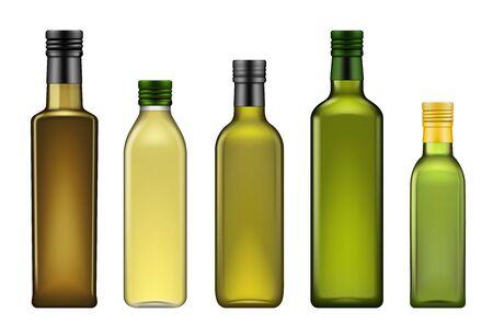 Maqueta de plantilla 3d realista de botellas de aceite de oliva, paquete de vidrio en blanco de aceites vegetales. Vector extra virgen aguacate, orujo o aceite de oliva y semillas de sésamo botella con tapa de metal verde