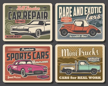 Car repair and mechanic maintenance service retro posters. Vector vintage cars parts shop and rare vehicles showroom museum, trucks rental and sport carts diagnostics, repair and tuning garage station 일러스트