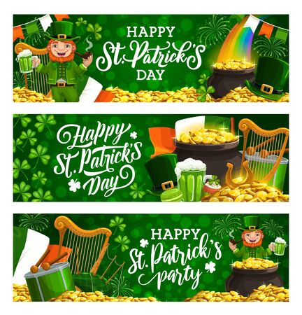 Happy St. Patricks day leaflets with lettering. Irish spring holiday, celebrated on 17 March, symbols harp, flag of Ireland, drum and hat. Vector rainbow, leprechaun drinking beer, pot of golden coins