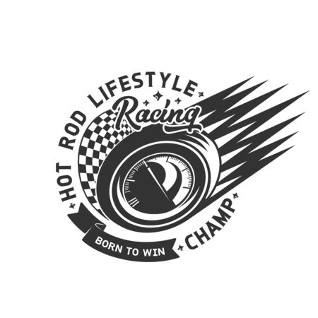 Car races emblem, rally championship and fast motor sport tournament icon. Vector street racing and drift club sign, sport car wheel with speedometer, fire burn ribbon and checkered finish flag