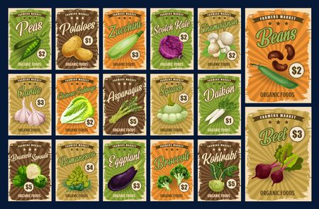 Vegetables, organic farm market food veggies price cards. Vector price for potato, zucchini squash and garlic, peas and beans, daikon radish and asparagus, Brussels sprouts and romanesco cabbage