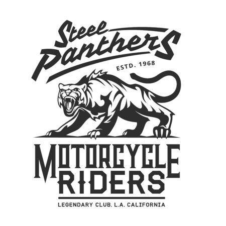 Motorcycle bikers club emblem, motorbike racing and gang custom garage icon. Vector Steel Panthers Legendary American California bikers club sign, grunge T-shirt print