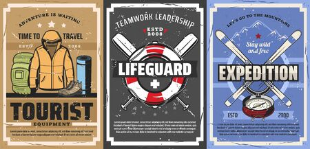 Tourist and lifeguard equipment, travel, tourism, hiking and camping vector design. Mountain skis, trekking boots and backpack, compass, jacket and rubber mat roll, lifebuoy, ropes and paddles