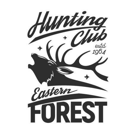 Deer t-shirt print of hunting sport and hunter club apparel vector design. Head of reindeer buck with stag antlers, forest animal with stars and hand drawn lettering, sporting clothes fashion