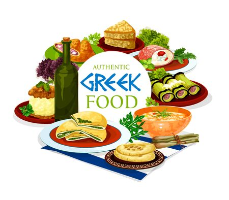 Greek food of meat, vegetable and dessert dishes vector design. Wine and bread, served with beef and eggplant rolls, spinach and ham pies, lentil soup, chicken stew, mashed potato and honey cake