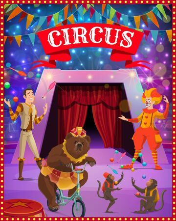 Circus show clown, juggler and trained animals. Vector cirque or carnival tent arena with performers, acrobat, bear and monkey with lights and festive bunting garland or flags
