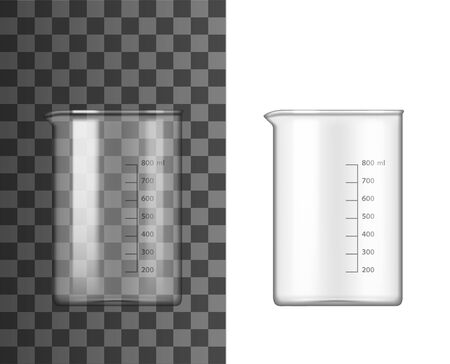 Glass beaker lab glassware 3d vector design of chemistry and science equipment. Chemical laboratory measuring container, flask or test tube with spout and measuring scale markup. Research themes  イラスト・ベクター素材