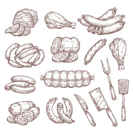 Beef and pork sketches, sausages, butcher and barbecue tools. Meat food vector sketches. Salami, ham, chicken and turkey legs, smoked frankfurter, pepperoni and wurst, knives, bbq meat fork Vectores