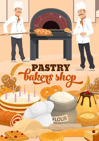 Bakers baking bread and pizza at bakery or pastry shop vector design. Baguette, croissant and cake, gingerbread, waffle and pretzel, cheesecake, wheat flour bag and dough, shovel and wood fired oven