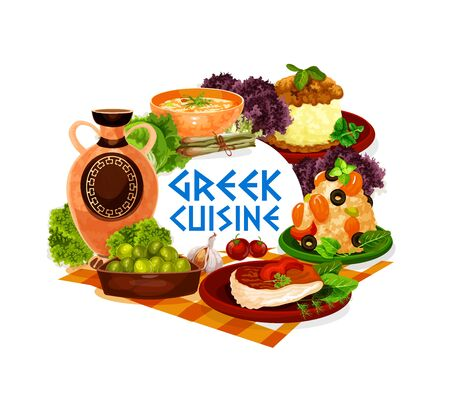Greek cuisine vector icon of seafood and meat dishes, served with olives and wine. Shrimp risotto, baked fish, chicken stew with mashed potato and lentil cream soup with green salad leaves and herbs